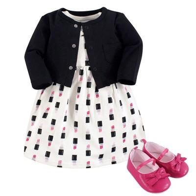 Little Treasure Baby Girl Cotton Dress, Cardigan and Shoe 3pc Set, Lipstick