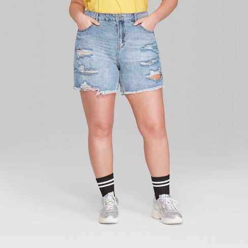 5827c895ab Women's Plus Size High-Rise Destructed Relaxed Longer Length Jean Shorts - Wild  Fable™ Medium Blue Wash