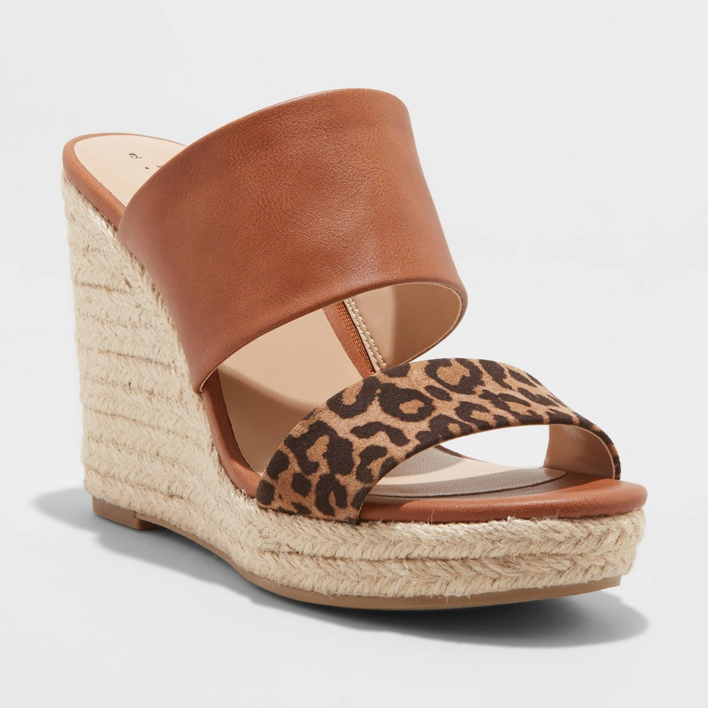 Image of Women's Adelina Microsuede Leopard Print Two Band Espadrille Wedge Pumps - A New Day Brown 6, Women's