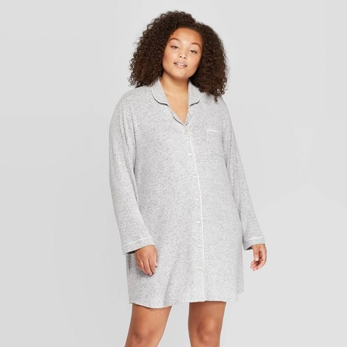 Women's Plus Size Perfectly Cozy Notch Collar Nightgown - Stars Above™ Light Gray - image 1 of 2