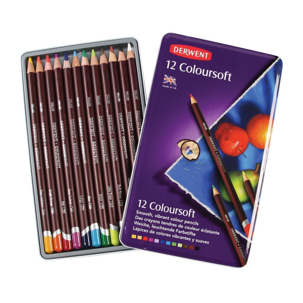 Colored Pencil Set - Derwent Coloursoft 12ct, Multicolored