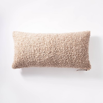 Oversized Boucle Lumbar Throw Pillow with Exposed Zipper Taupe - Threshold™ designed with Studio McGee