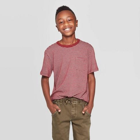 Boys' Jacquard Short Sleeve T-Shirt - Cat & Jack™ Maroon/White - image 1 of 3