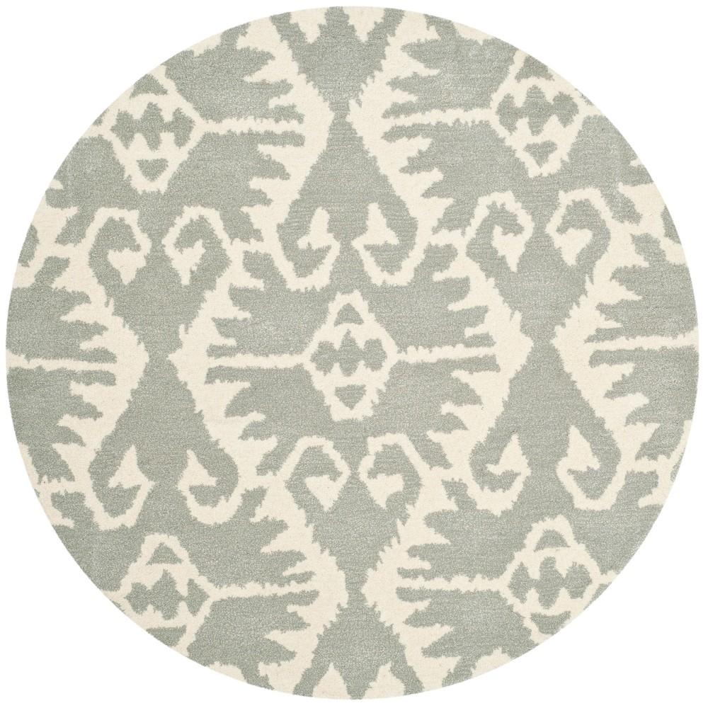 5' Tribal Design Tufted Round Area Rug Gray/Ivory - Safavieh