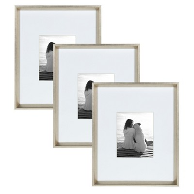 "16"" x 20"" Matted to 8"" x 10"" Calter Wall Frame Silver - Kate and Laurel"