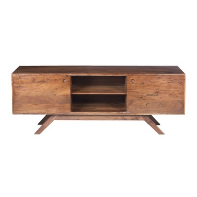 Wooden TV Unit with Wide Storage Brown - The Urban Port