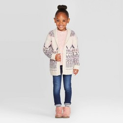Toddler Girls' Long Sleeve Geometric Pattern Cardigan - Cat & Jack™ Cream