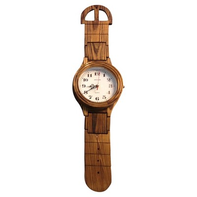 Wrist Watch Shaped Wall Clock Oak Finish - Creative Motion Industries