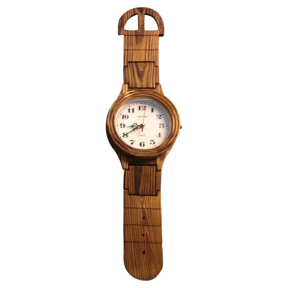 Image of Wrist Watch Shaped Wall Clock Oak Finish - Creative Motion Industries