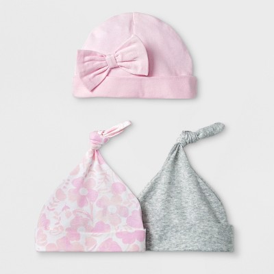 Baby Girls' 3pk Hats - Cloud Island™ Pink Newborn