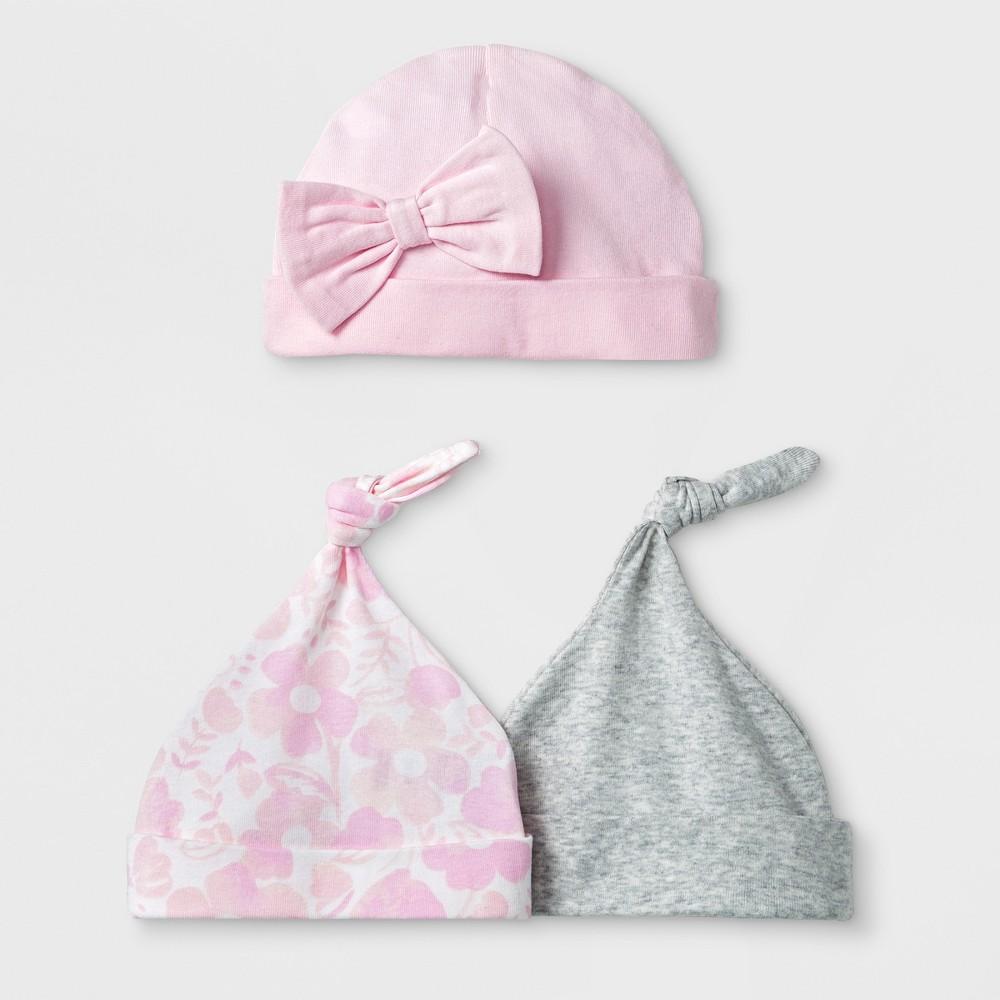 Baby Girls' 3pk Hats - Cloud Island Pink 0-6M