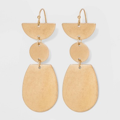 Worn Gold with Cubic Zirconia Drop Earrings - Universal Thread™ Gold