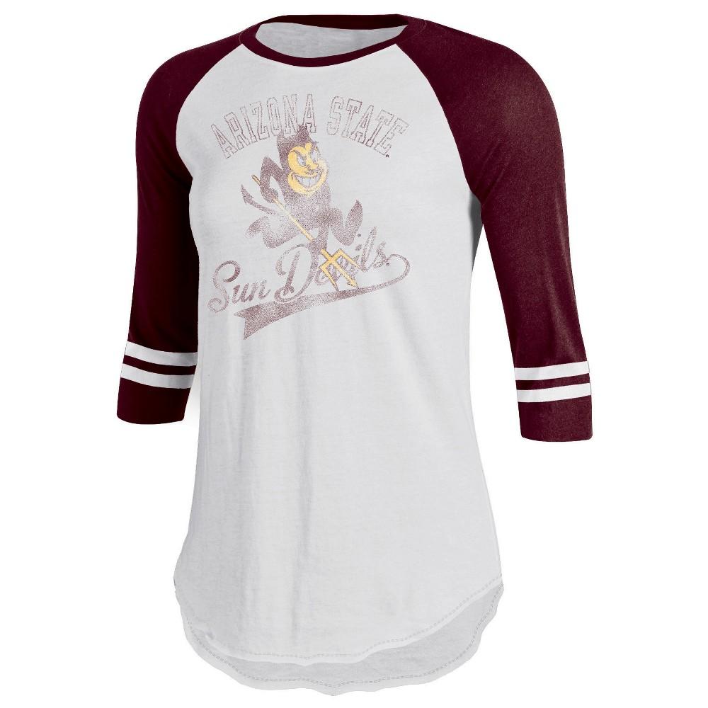 Arizona State Sun Devils Women's Retro Tailgate White/3/4 Sleeve T-Shirt S, Multicolored