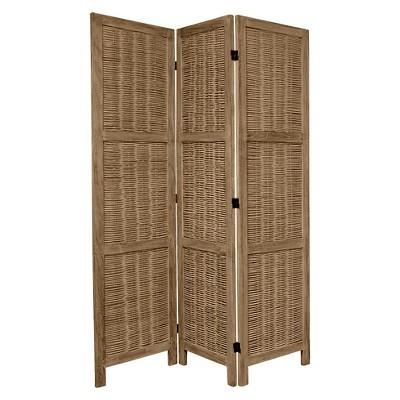 5 1/2 ft. Tall Bamboo Matchstick Woven Room Divider - Burnt Gray (3 Panel)