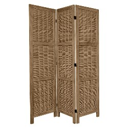 5 1/2 ft. Tall Bamboo Matchstick Woven Room Divider - Burnt Gray (3 Panel)