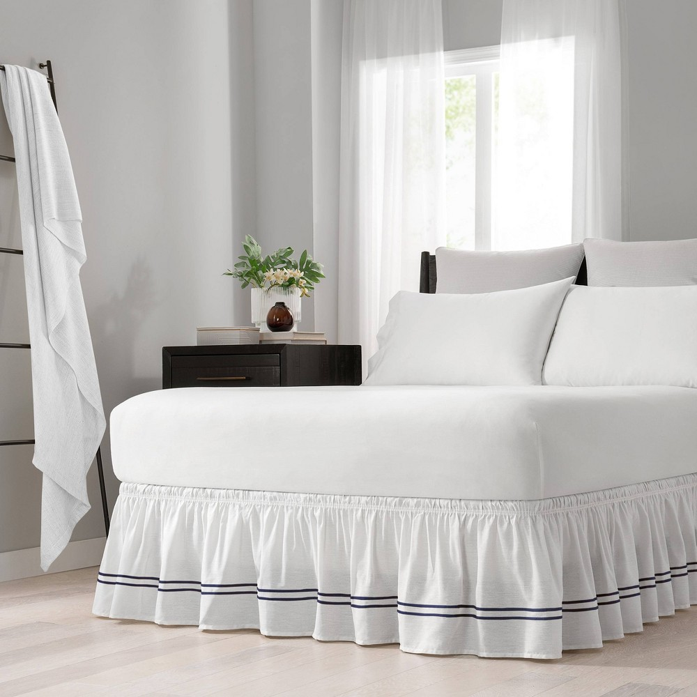 Easy Fit Twin Full Adjustable Baratta Stitch Embroidered Bedskirt White 38 Navy