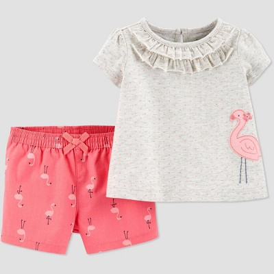 Baby Girls' 2pc Flamingo Top & Bottom Set - Just One You® made by carter's Gray Newborn