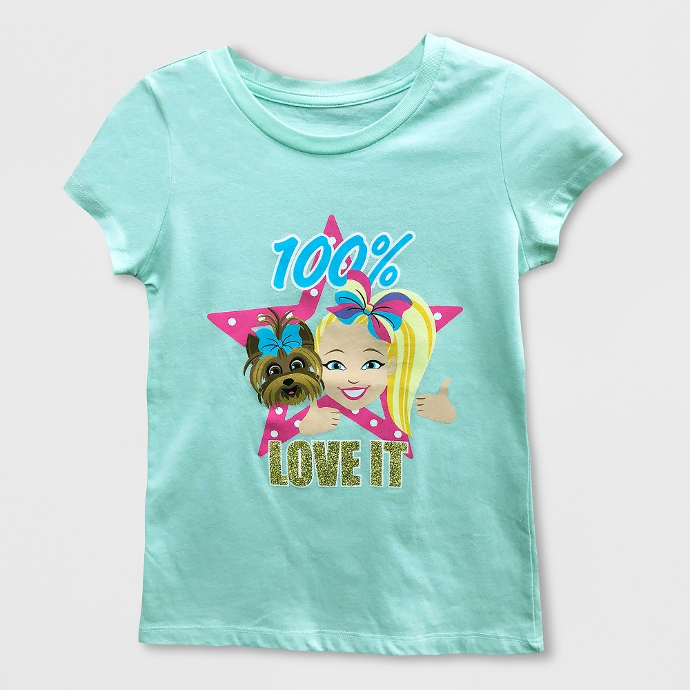 Girls' Nickelodeon JoJo Siwa Short Sleeve T-Shirt - Mint Green M, Blue