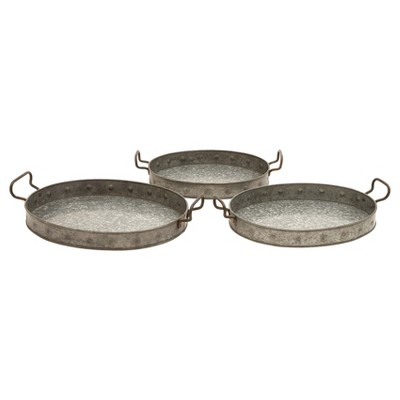 Farmhouse Iron Serving Tray Set Gray 3pk - Olivia & May