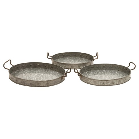 Farmhouse Iron Serving Tray Set Gray 3pk - Olivia & May - image 1 of 4