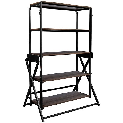 Origami 2 in 1 Multifunctional 52 Inch Tall Wooden Display Storage Shelf To 60 Inch Long Table Desk Unit for Indoor and Outdoor Spaces, Black/Walnut