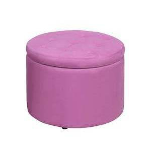 Round Shoe Ottoman Pink Faux Suede - Breighton Home