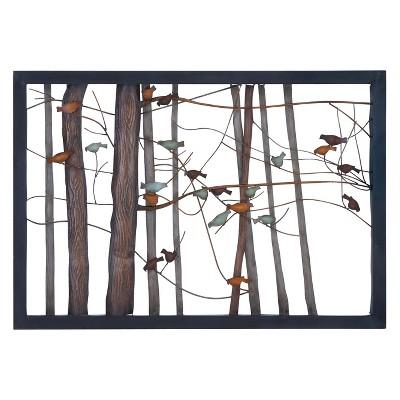 Metal Birds and Trees Decorative Wall Art 27 X 39 - Olivia & May