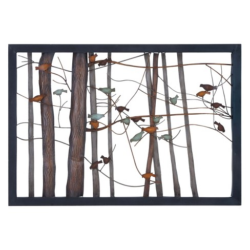 Metal Birds and Trees Decorative Wall Art 27 X 39 - Olivia & May - image 1 of 2