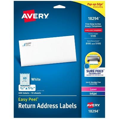 600ct Avery Easy Peel Return Address Labels