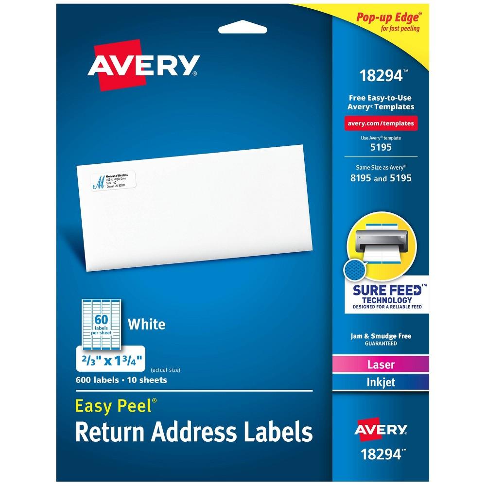 Image of 600ct Avery Easy Peel Return Address Labels