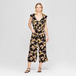 Women's Floral Print Short Sleeve V-Neck Button Tie Front Jumpsuit - Xhilaration™ Black M