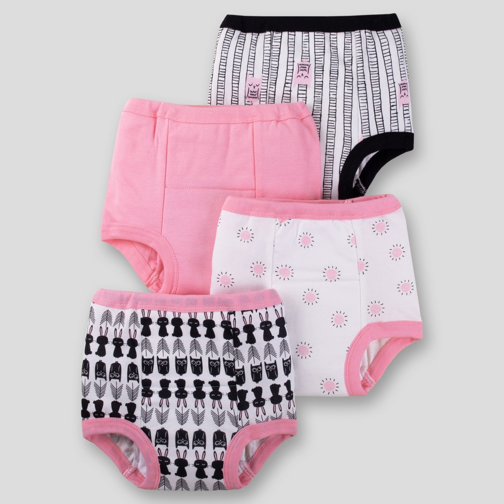 Lamaze Baby Girls' Organic 4pk Owl Training Pants - Black/White 18-24M