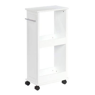 Rolling Side Cabinet with Shelves White - RiverRidge