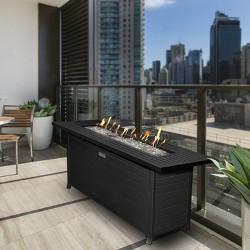 Aluminum Natural Gas/Propane Fire Table Black - Sunbeam