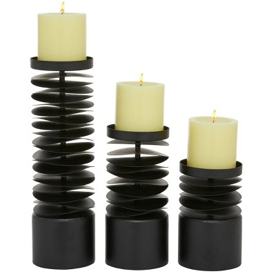Set of 3 Round Metal Layered Candle Holders Black - Olivia & May