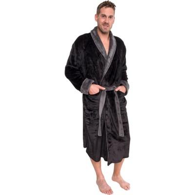 Ross Michaels Men's Plush Two-Tone Bathrobe With Sherpa Trim