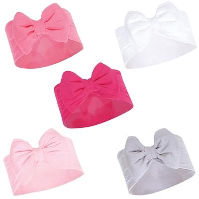 Hudson Baby Infant Girl Headbands 5pk, White Pink, 0-24 Months