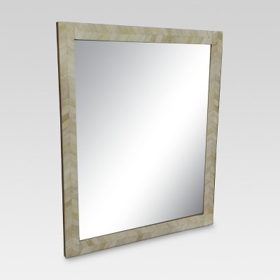 Rectangle Chevron Decorative Wall Mirror Ivory - Threshold™
