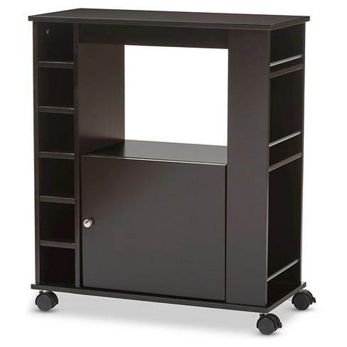 Ontario Modern Contemporary Dark Brown Wood Dry Bar Wine Cabinet Baxton Studio