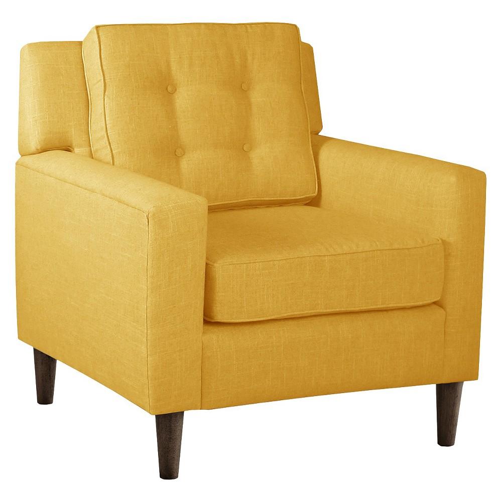 Skyline Custom Upholstered Arm Chair - Skyline Furniture, Linen French Yellow