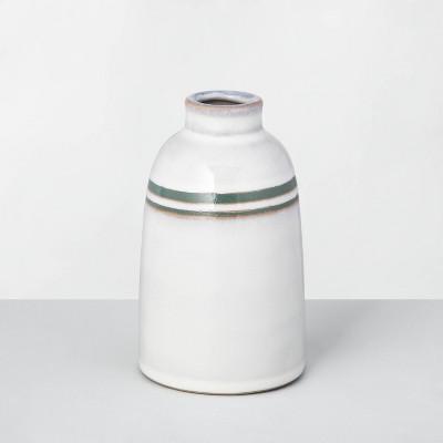 """5"""" Double Stripe Stoneware Decor Vase Green/Sour Cream - Hearth & Hand™ with Magnolia"""