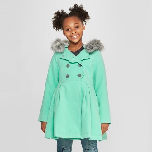 Girls' Long Faux Wool Fur Hood Jacket - Cat & Jack™ Aqua M - image 1 of 4