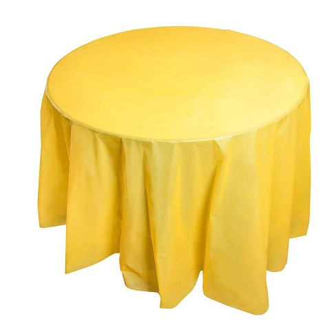 Juvale 12 Pack Yellow 84 Inch Round, Round Table Cover Plastic