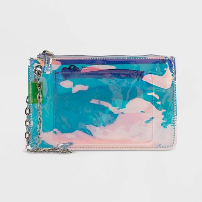 Stella & Max Zip Closure Transparent Wristlet - Blue