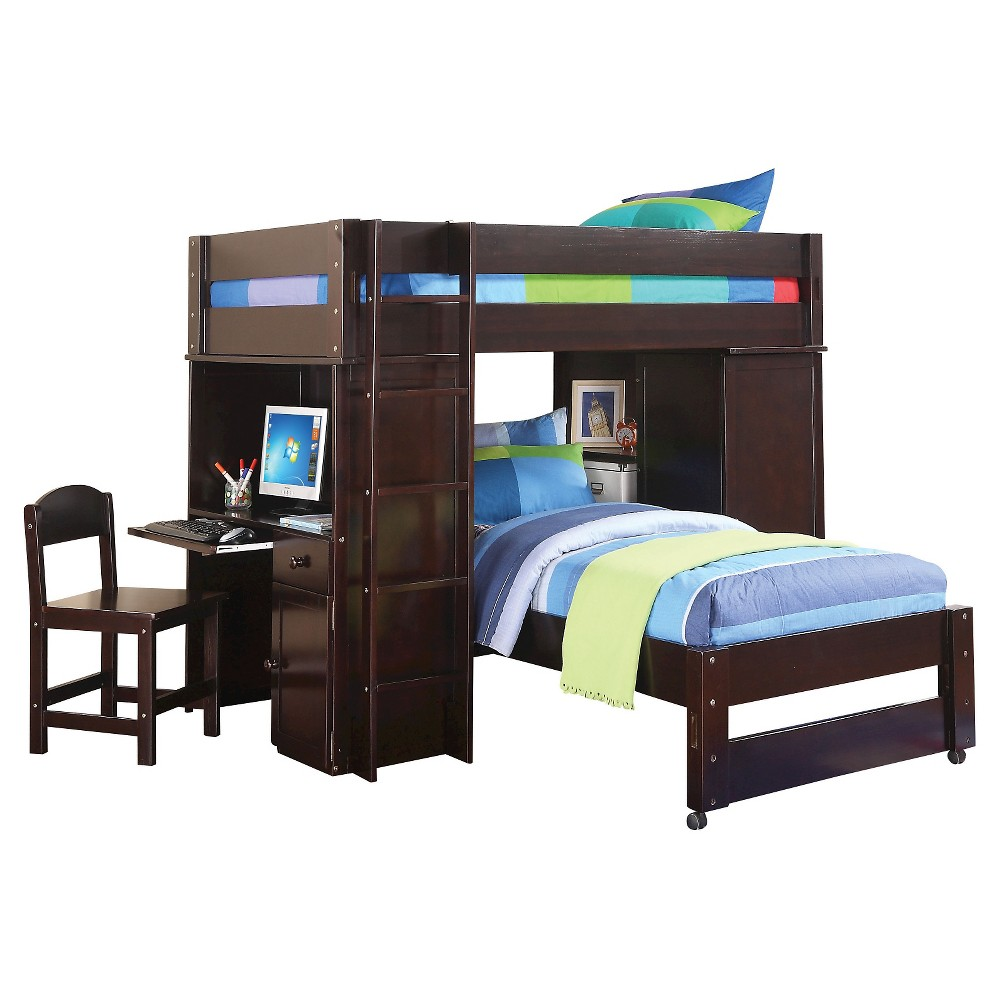 Lars Kids Loft Bed with Twin Bed - Wenge(Twin/Twin) - Acme, Brown