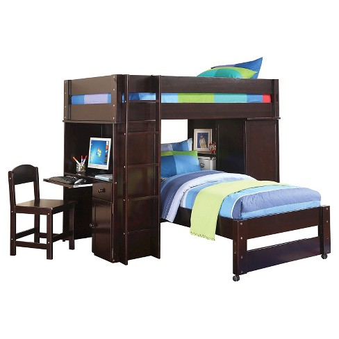 Lars Kids Loft Bed With Twin Bed Wenge Twin Twin Target