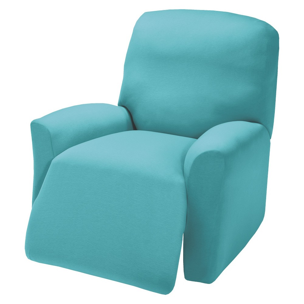 Image of Aqua Jersey Large Recliner Slipcover - Madison Industries, Blue