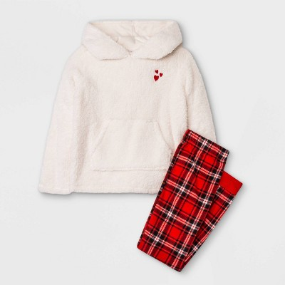 Girls' Cozy Sherpa Plaid Pajama Set - Cat & Jack™ Cream/Red