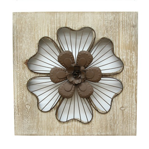 "Stratton Home Decor 14""x14"" Rustic Flower Decorative Wall Art Set Wood - image 1 of 4"