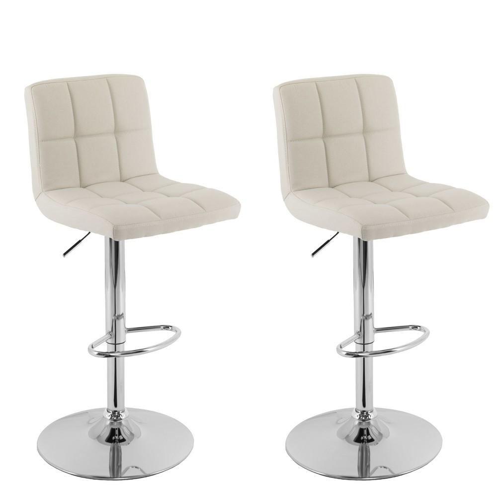 Corliving Set of 2 Mid Back Square Panel Barstool Oatmeal